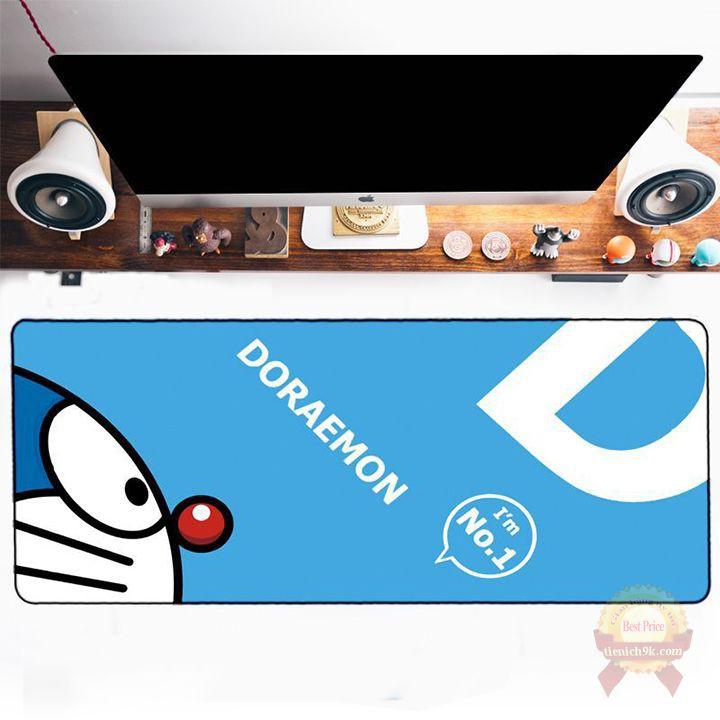 Bàn di lót chuột hoạt hình Doraemon V2 cỡ lớn 80x30cm vải mịn bo viền chống trơn trượt Mèo máy đô rê mon