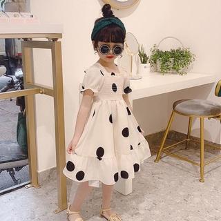 Children Girls Dress Baby Dress Spring Short Sleeve Dresses Princess Dress Sweet Cotton Dress Polka Dot Print Dress Sweet Cute Dress For 1- 7 Years Old