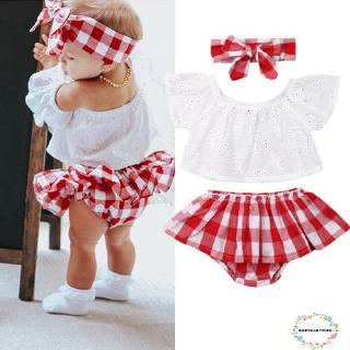 Set áo trễ vai+chân váy+băng đô họa tiết kẻ ca-rô xinh xắn đáng yêu dành cho bé gái