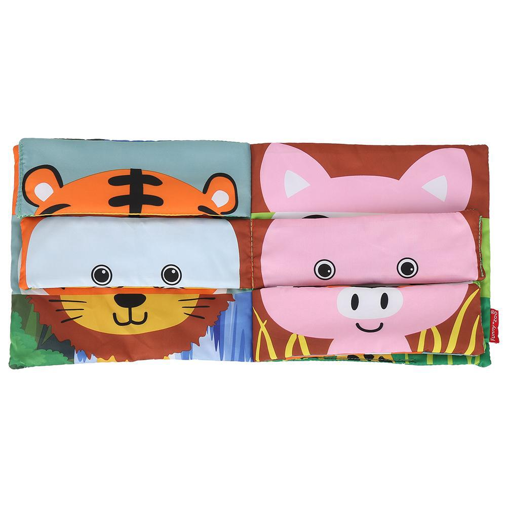 Soft Baby Cloth Activity Crinkle The animal Face Matching Book Early Education Cloth Book