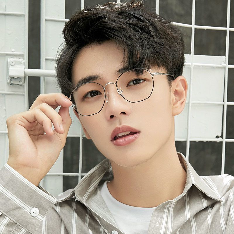 Super Light Myopia Glasses Women's Korean-Style Fashionable with Degrees Students Polygon Glasses Frame Female to Make Big Face Thin-Looked Men...