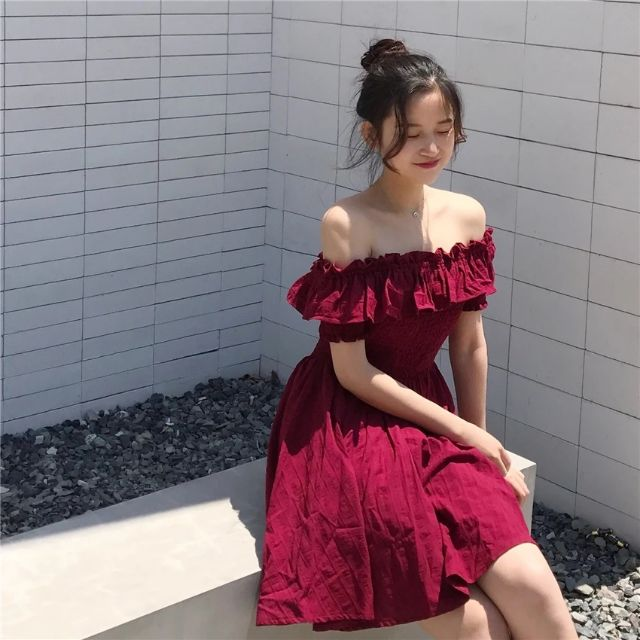 [CÓ SẴN] Váy trễ vai chun bèo cực kỳ tiểu thư free sz (ảnh thật ở