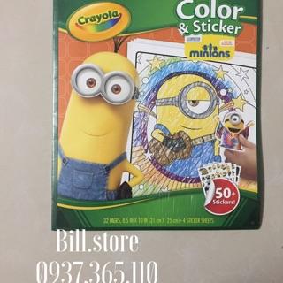 ( SALE ĐỒNG GIÁ 99K )Bộ Crayola Color Sticker 50 Minions