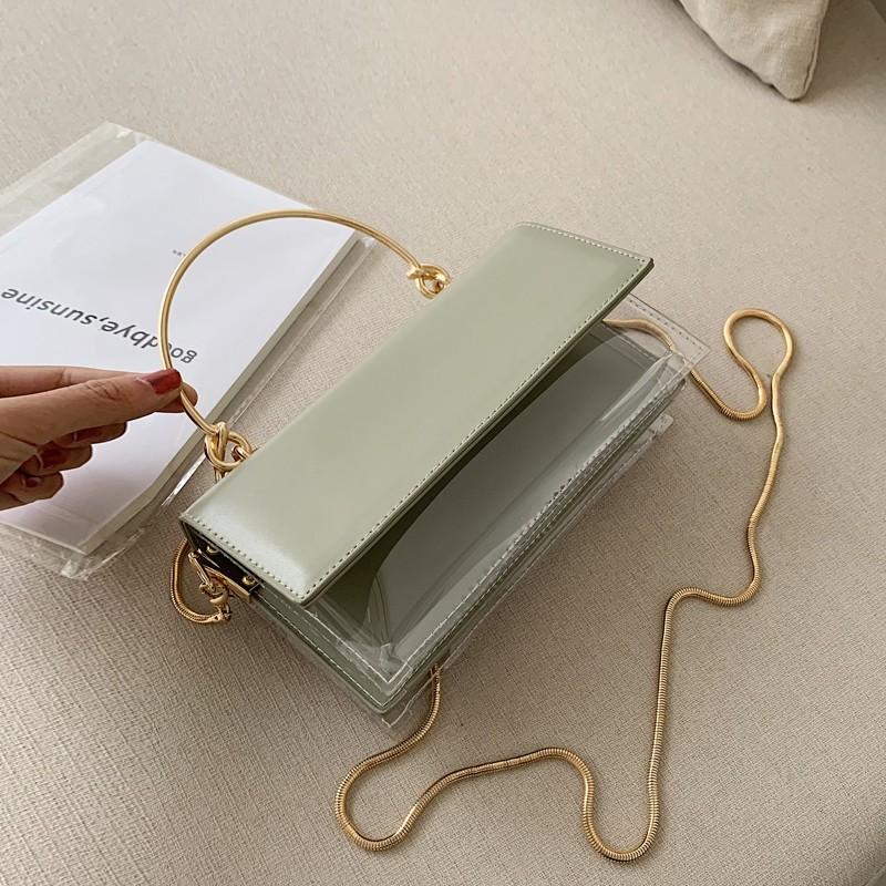 กระเป๋าผู้หญิงเล็กจิ๋วใสใสเชนกระเป๋า Messenger ห่วงโซ่ถุงเจลลี่