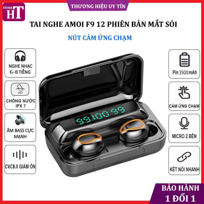 Tai nghe bluetooth F9 12 phiên bản Pro 2020 nghe nhạc âm thanh 8D cảm ứng chống nước, chống ồn