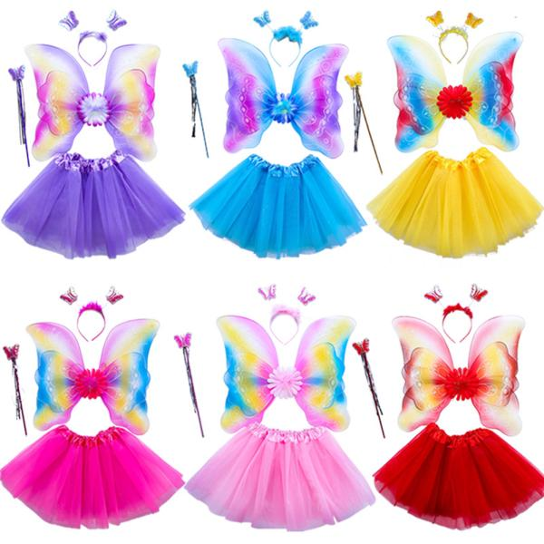 LED Flashing Butterfly Wings Clothes Children Show Costumes Angel Wings Set