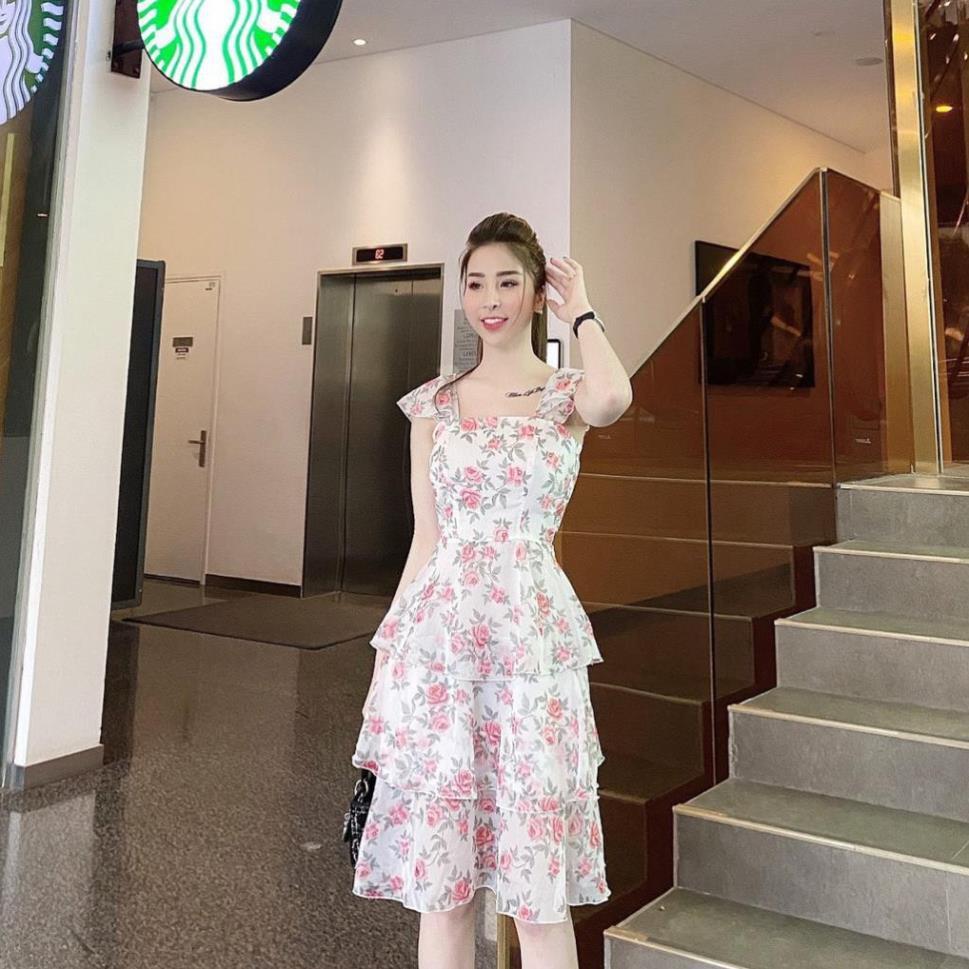 Váy voan hoa phân tầng, váy voan thiết kế cao cấp - V129