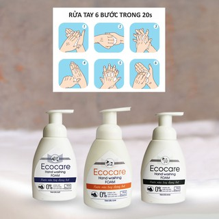 Nước Rửa Tay Hữu Cơ Diệt Khuẩn Ecocare 1 lít - Tặng 1 khăn tay cotton 25x25cm 1 vỏ chai tạo bọt-1