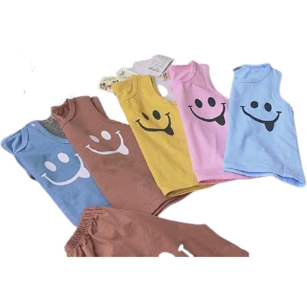 Mặc gì đẹp: Gọn tiện với Đồ bộ ba lỗ cho bé mặt cười mặc ở nhà cực xinh chất cotton - BIN KIDS, bộ sát nách cho bé từ 6-19Kg