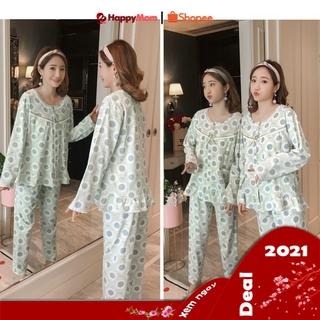 [TẶNG QUÀ]💝Bộ Đồ Bầu Ngủ Sau Sinh Cho Con Bú V016 màu xanh quần có chun điều chỉnh và áo có phần mở sau sinh cho bé ti