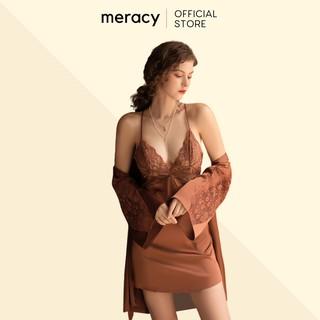 Váy ngủ hai dây có kèm áo choàng lụa satin nữ cao cấp MERACY có mút ngực phối ren M06 - CV thumbnail