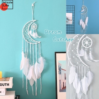 Mizzle White Retro Craft Moon Feather Dreamcatcher Home Decor Wind Chimes Home Wall Hanging Decoration Gifts