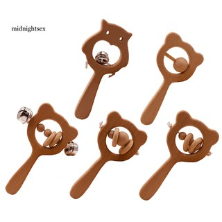 MID®Bear Shape Wooden Hand Grip Teether Rattle Bell Baby Chew Beads Toy