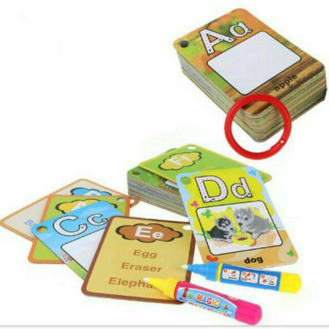 Thẻ tô màu nước 26 chữ cái tiếng Anh