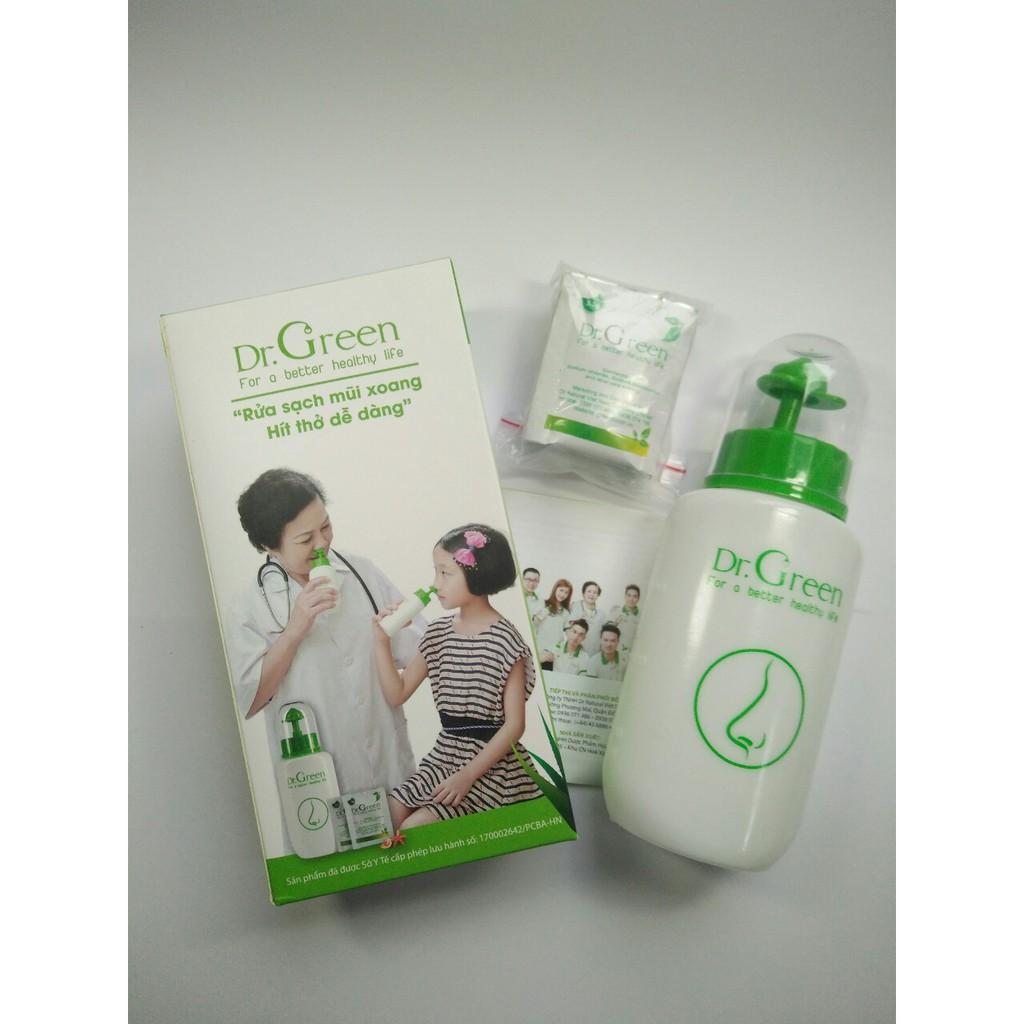 Bình rửa mũi Dr Green + 10 gói muối rửa mũi (có video)