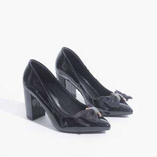 Giày Cao Gót Đế Vuông 7cm Da Bóng Nơ Lưới Pixie X407 thumbnail