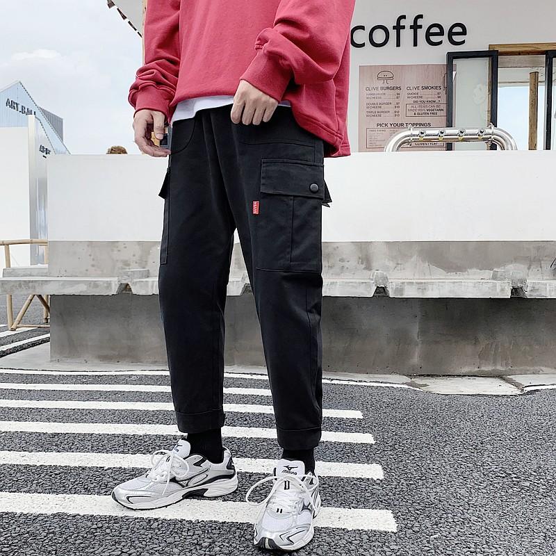 ฤดูใบไม้ร่วงผู้ชายแบรนด์น้ำหลวมหลายกระเป๋ากางเกงตรงญี่ปุ่นลมหลวม ins เก้ากางเกงเ
