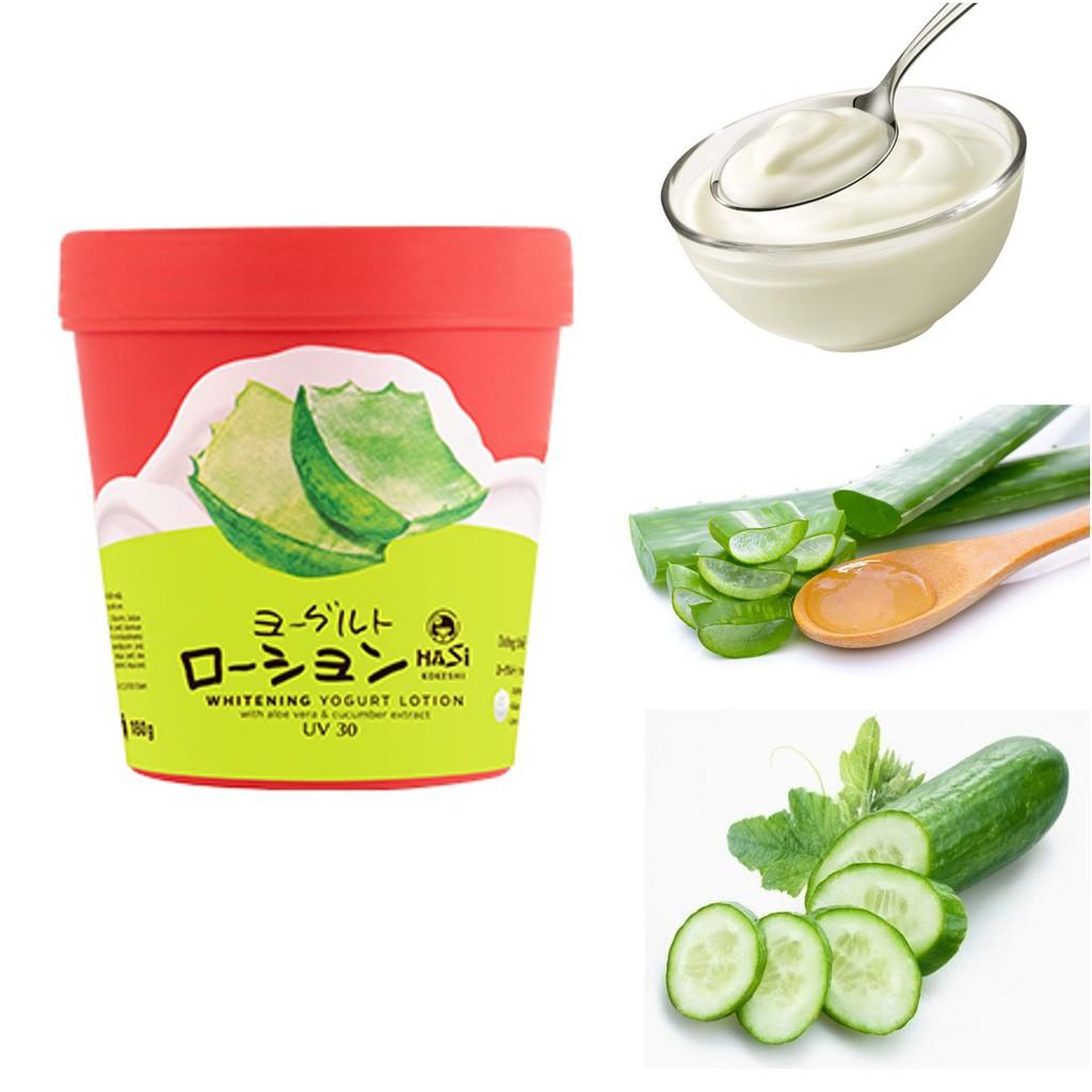 Kết quả hình ảnh cho Lotion dưỡng thể trắng da Hasi yogurt & trái cây (chiết xuất nha đam, dưa leo) uv30