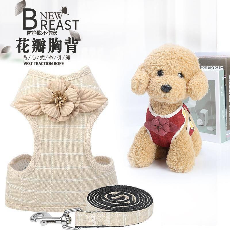 2019 ใหม่สายรัดหน้าอกกลีบสุนัขฉุดเชือกเท็ดดี้สุทธิเสื้อกั๊กประเภทเชือกสุนัข