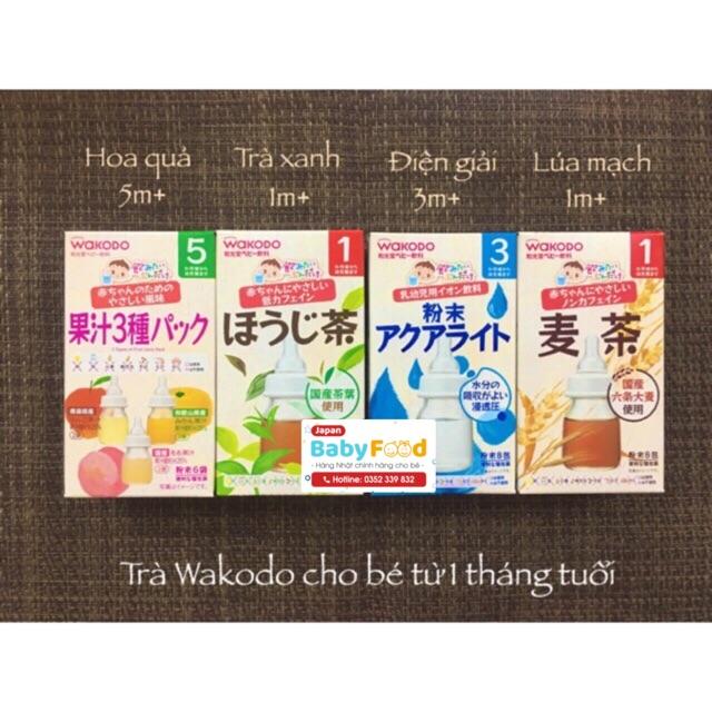 Trà Wakodo Nhật Bản cho bé (date 2021)Trà Xanh/Trà Lúa Mạch/Trà Hoa Quả/Điện Giải