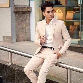 Bộ vest nam màu be sữa 1 khuy (Quần + áo) siêu hot mặc đông hè 06 Tulino