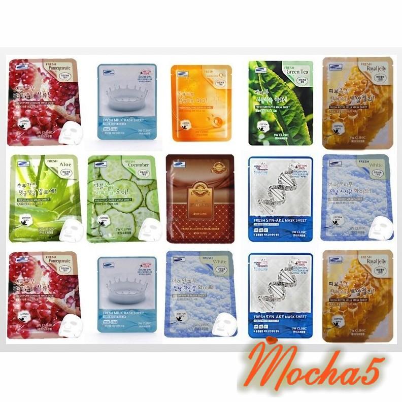 Bán lẻ miếng mặt nạ 3W Clinic Fresh Mask dưỡng trắng mịn da  23ml (CHÍNH HÃNG)