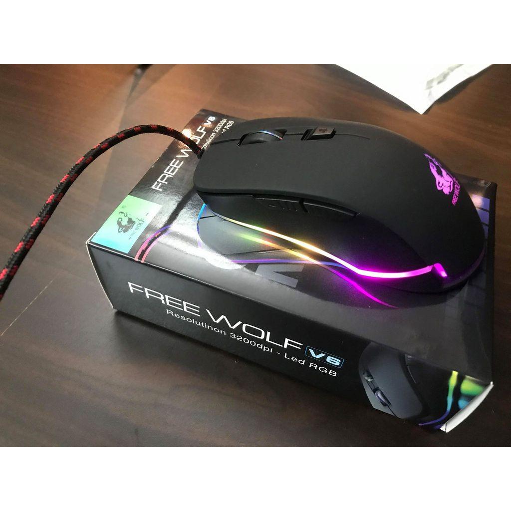 CHUỘT CHƠI GAME LED RGB FREE WOLF V6 (Đen)