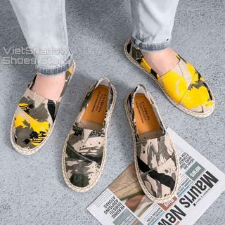 Slip on nam 2020 - Giày lười vải nam cao cấp - Vải thô 3 màu loang xám, vàng và cam - Mã SP 2928 thumbnail