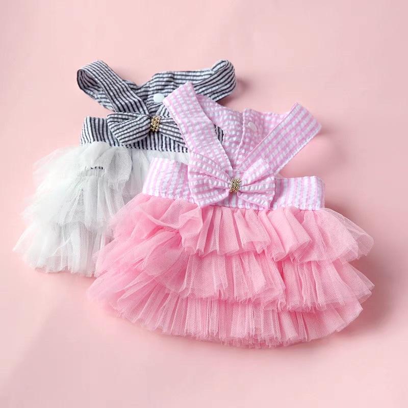 Váy áo cho cả chó mèo đều mặc được -  váy 2 dây giá rẻ mùa hè phối ren xòe rộng phía dưới cho thú cưng