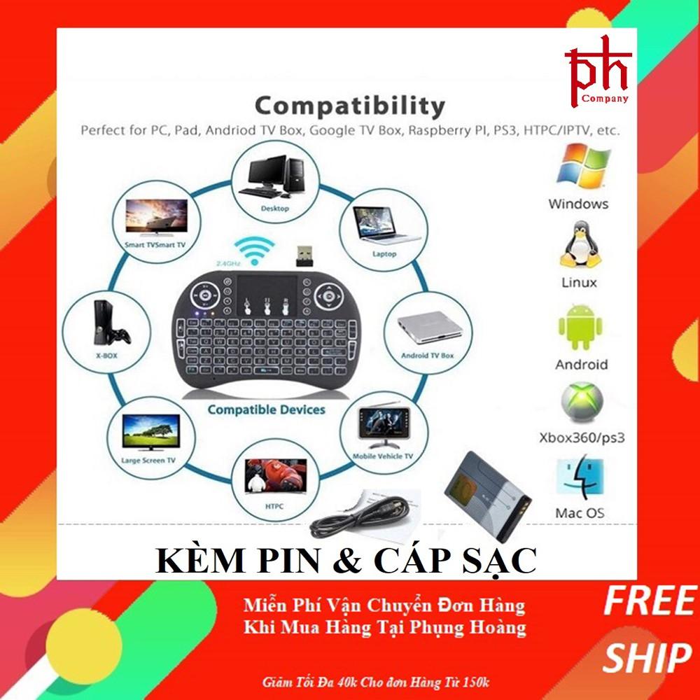 Bàn Phím Kiêm Chuột Mini Không Dây UKB-500-RF Cho Smart Tivi Và Android Box