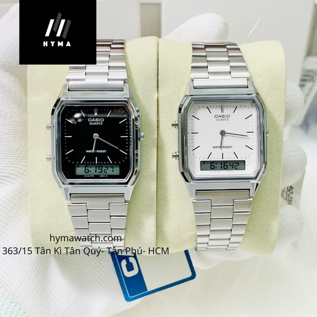 Đồng hồ Casio Unisex AQ 230A  Đen Trắng chính hãng Bảo hành 1 năm Hyma watch