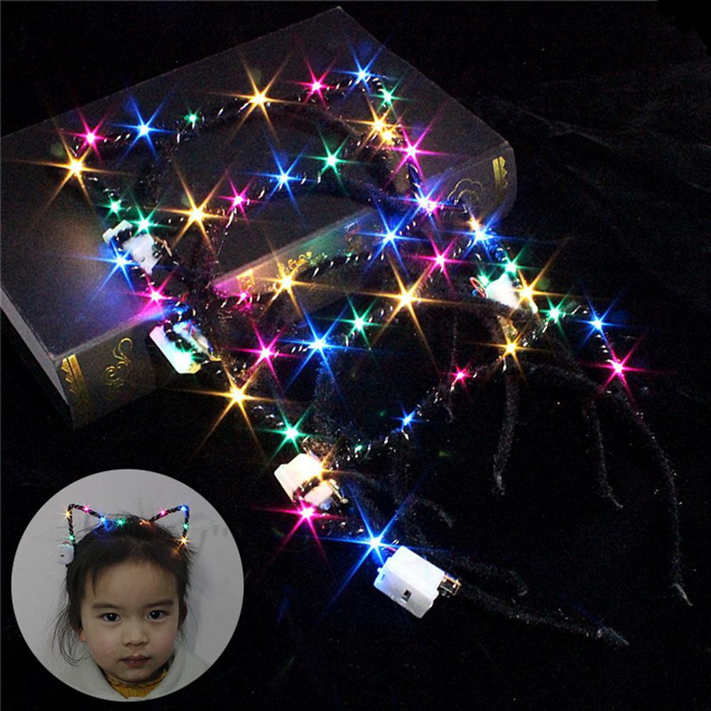 GEFX_Lovely Cat Ear Flashing Colorful LED Headband Kids Adult Party Festival Hairband