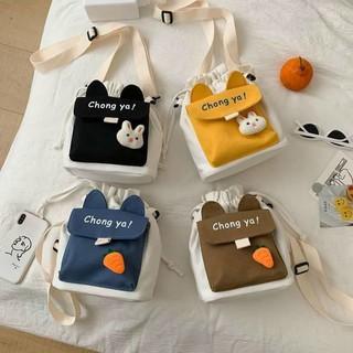 Túi đeo chéo mini vải canvas mềm đẹp giá rẻ có sticker