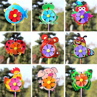 Plastic Wind Spinner Windmill Cute Cartoon Animals Kids Outdoor Toys