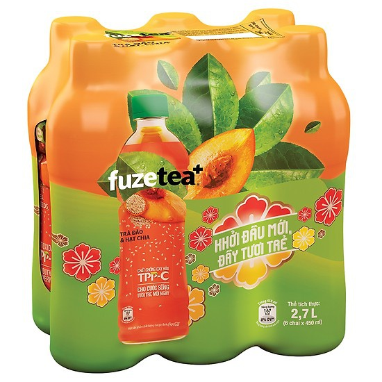 [Mã GRO1COKE1 giảm 15% đơn 150k] Lốc 6 chai trà đào và hạt chia Fuzetea+ 450ml/ chai