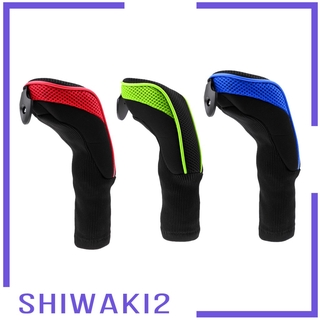 [SHIWAKI2] 3Pcs/Set Golf Driver Wood Headcovers Sock with Long Neck Hybrid (UT) Covers