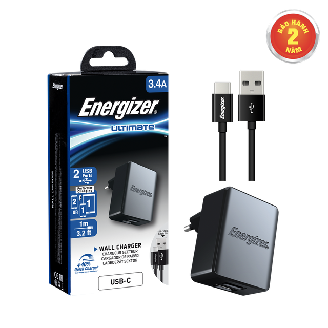 Sạc Energizer 3.4A 2USB kèm cáp USB-C2.0 màu đen - ACA2CEUUC23