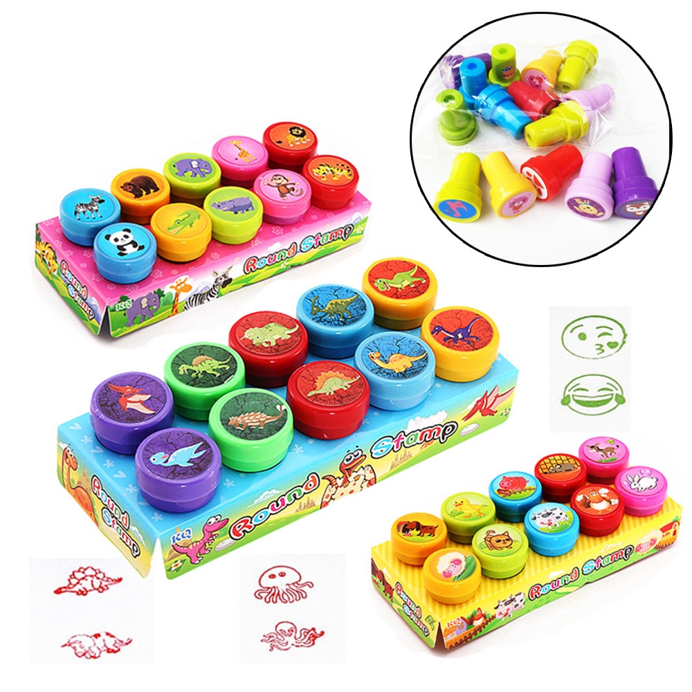 10PCS Funny New Rubber Kids Gift Smiling Face Self-ink Rubber Stamps