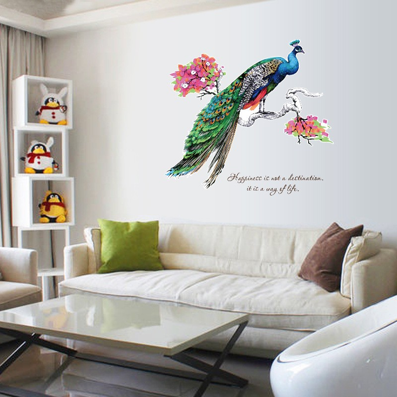 Decal dán tường - Giấy dán tường - 3D Chim công - 3D - SK9153