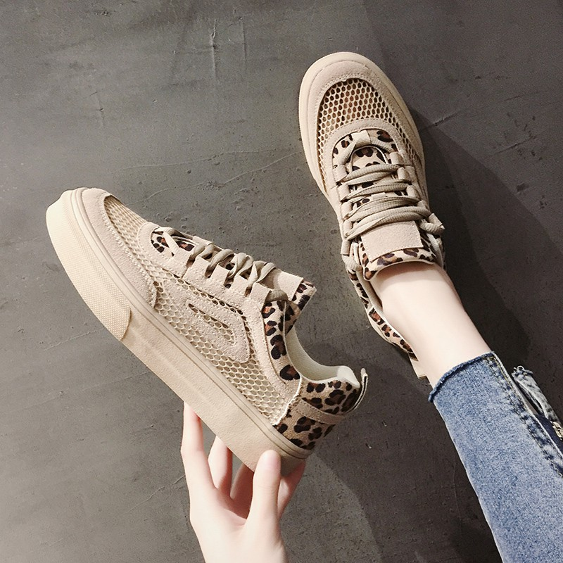 Old shoes women's casual flat bottom shoes leopard print shallow mouth single shoes mesh breathable