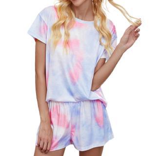 Women's Print Short Sleeve Top Sleepwear Suit Pink Blue Size S