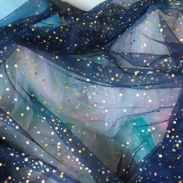 Vải lưới đính sao lấp lánh màu xanh đen/ hồng/ trắng khổ 1m5