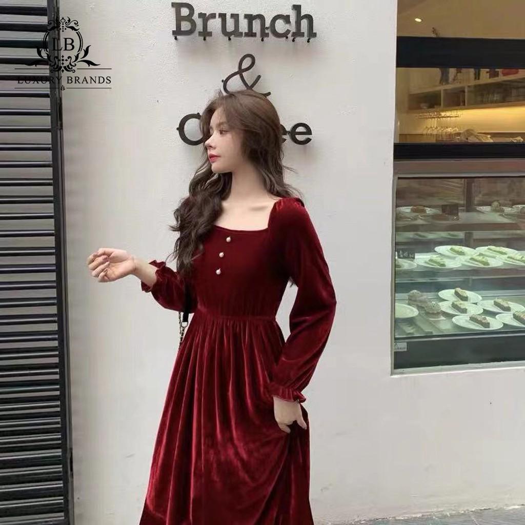 3809382128 - [CÓ SẴN] Váy đầm nhung đỏ đen red velvet retro dự tiệc dạ hội dáng dài tay bó chun eo chun sang chảnh ulzzang