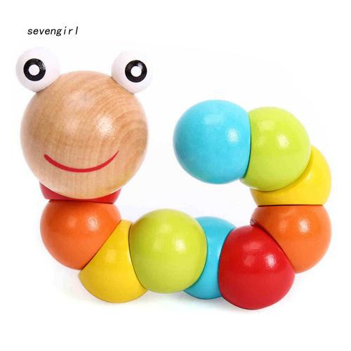 〖MO〗Baby Kids Creative Colorful Twist Colored Insects Toy Wooden Educational Gift