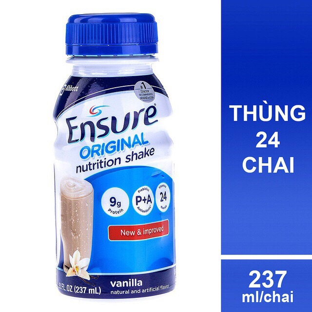 Thùng 24 chai Sữa Ensure nước Original Vani 237ml