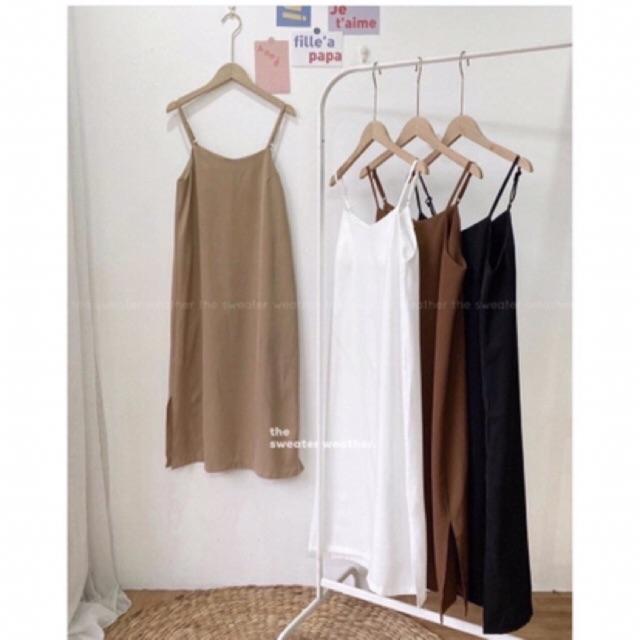 Váy hai dây đũi lụa siêu mát hàng có size xẻ tà xinh xắn