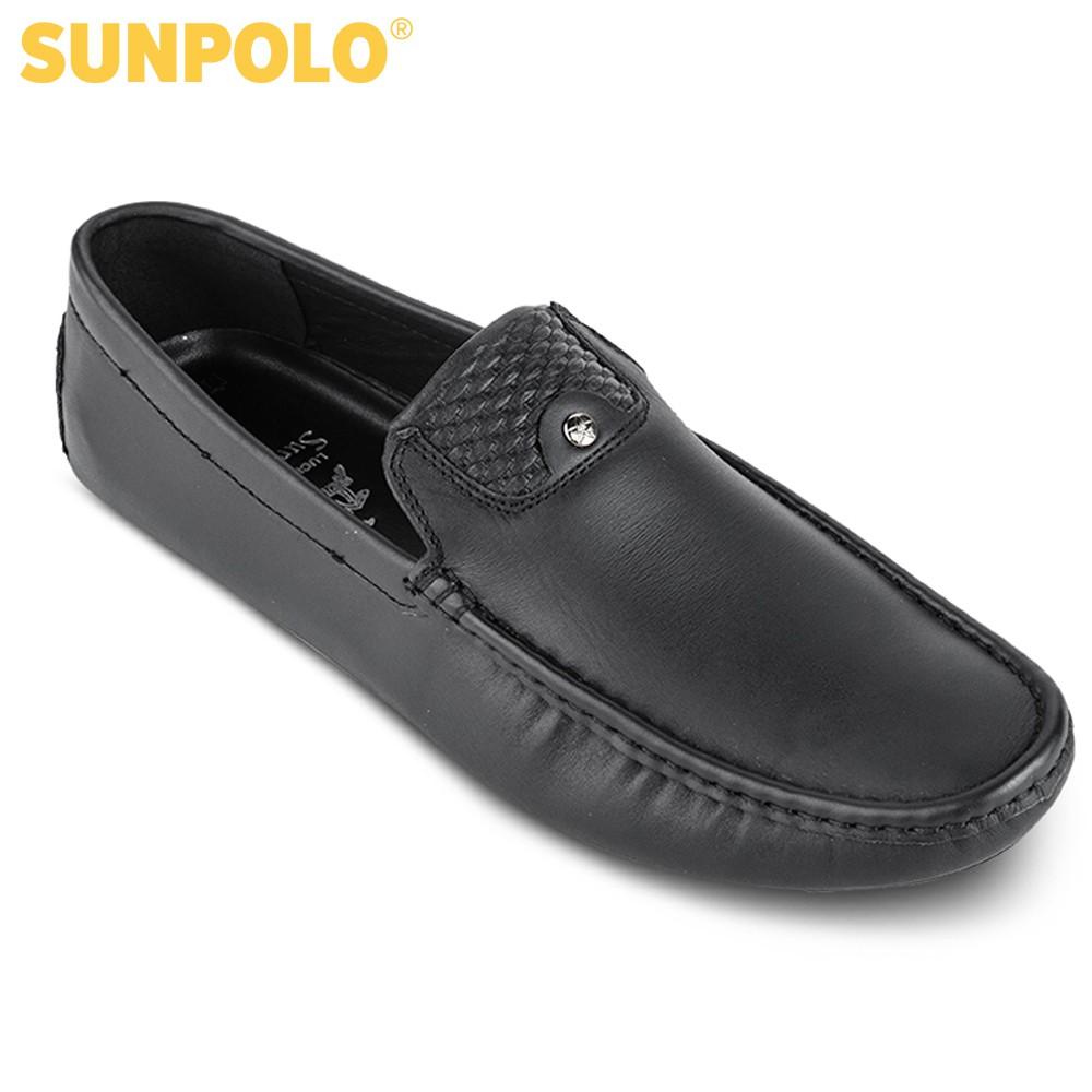 Giày Lười Nam Da Bò SUNPOLO Đen - SU7544D