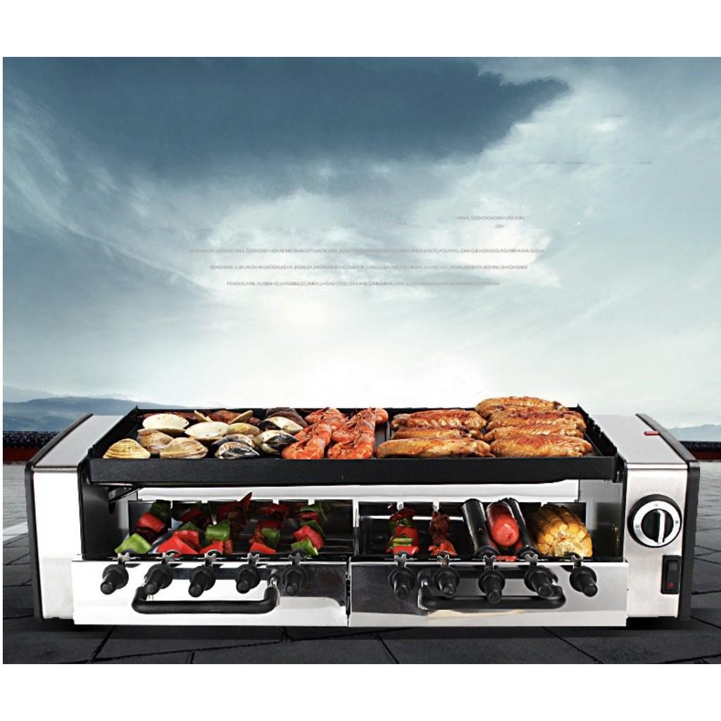 ►♀Lò nướng điện 2 tầng tự xoay 10 xiên BBQ Grill Auto 1600w ABS SUS304 - tặng full phụ kiện  Giảm giá10%