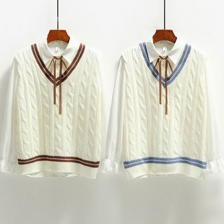 Chic vest female autumn and winter style edition of the school wind Japanese Department of small fresh loose loose hea