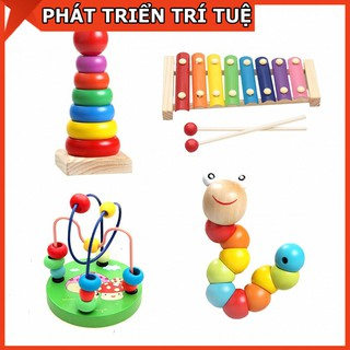 Combo sét 4 món đồ chơi – luồn hạt – con sâu gỗ – đàn gỗ 8 thanh – cầu vồng – giúp bé phát triển trí thông minh